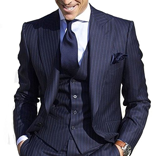 - JYDress Men's Pinstripe Suit Slim Fit Stripe Peaked Lapel Jacket Vest Pants Sets Navy Blue