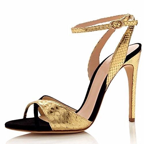 ZHZNVX Damen Schuhe Rindsleder Frühling Sommer Basic Pumpe Komfort Sandalen stiletto-Absatz für Casual Gold Grün