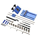 Zerodis Woodworking Tool Set, DIY Joinery High Precision Dowel Jigs Kit, 3 in 1 Drilling Locator Drilling Guide Kit, Drilling Bits & Depth Stop Collar