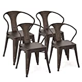 Costway Tolix Style Dining Chairs Industrial Vintage Chic Metal Stackable High Back Indoor Outdoor Dining Bistro Café Kitchen Arm Side Chairs (Copper Set of 4) Review