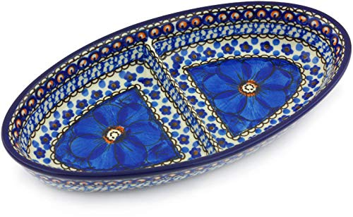 - Polish Pottery 9-inch Divided Dish made by Ceramika Artystyczna (Cobalt Poppies Theme) Signature UNIKAT + Certificate of Authenticity