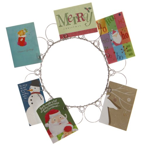 Christmas Wreath Card Holder, Christmas Card and Photo Holder, Wall Christmas Card and Picture Display for all Your Holiday Greetings, Perfect Gift , Holds 14 ()