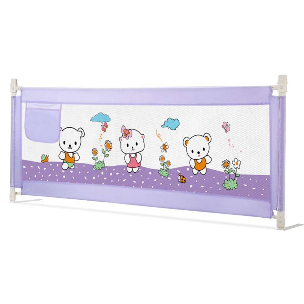 Bed Rail Vertical Lift Bed Guardrail, Child Bedside Guardrail, Baby Safety Bed Bezel to Prevent Baby from Falling Off The Bed - Purple (Size : L-190cm)