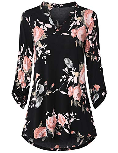 UXELY Womens Floral Printed Tunic Shirts 3/4 Roll Sleeve Notch Neck Tunic Top (Black Orange Flower, XX-Large)