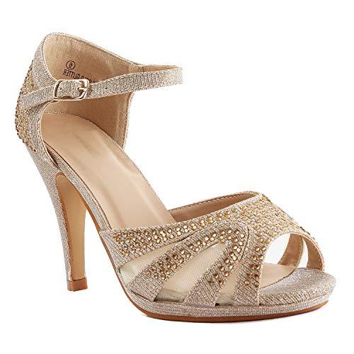 Womens Open Toe Crochet Lace Stiletto Peep Toe Pump High Heel Sandals (8 M US, Gold Glitter) (Toe Pumps Canvas Peep)