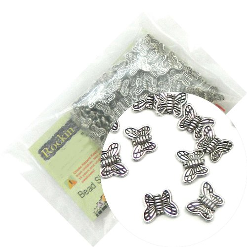 Rockin Beads Brand, 200 Butterfly Beads Antiqued Silver Beads Cast Zinc Metal Beads 11mm (1mm Hole)