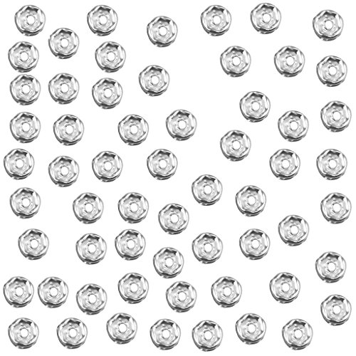 (100 Piece Round Rondelle Spacer Bead for Jewelry Making Crafts Gold 6mm - Silver, 6mm)