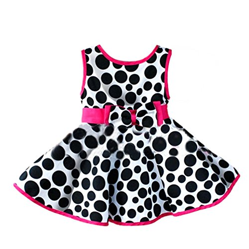 Weixinbuy Kids Girls Circle Printed Sleeveless Bowknot Princess Dress S