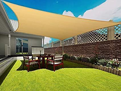 149855d7a89b Image Unavailable. Image not available for. Color: Coconut Rectangle Sun  Shade Sail 16 X 20 Ft UV Block Sunshade Canopy Awning Cover for