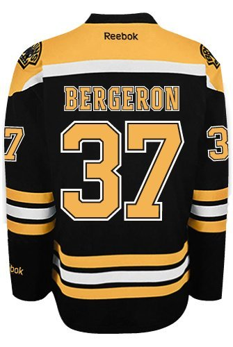 Boston Bruins Patrice Bergeron #37 *A* Official Home Reebok NHL Hockey Jersey (SEWN TACKLE TWILL NAME / NUMBERS)
