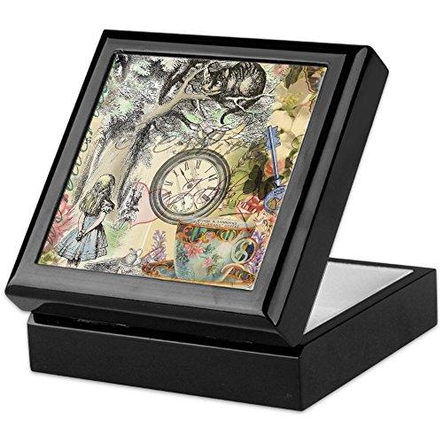 CafePress Cheshire Cat Alice in Wonderland Keepsake Box, Finished Hardwood Jewelry Box, Velvet Lined Memento Box