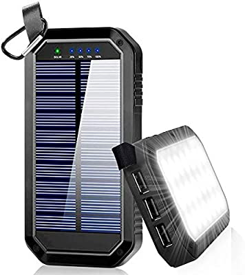 Ayyie Solar Charger, Portable Charger Power Bank with 3-USB Outports & 21  LED Flashlights, 8000mAh Backup Battery Pack Phone Charger for Camping,