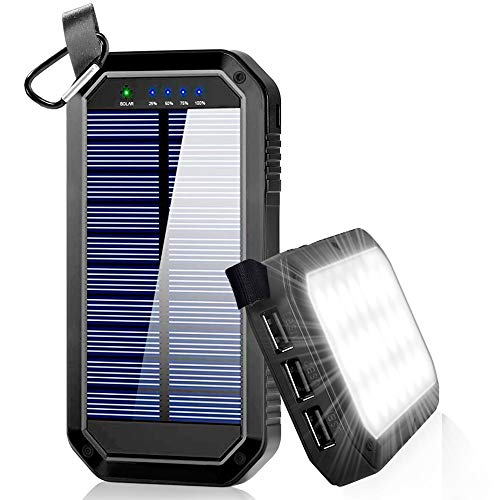 Solar Charger, Dostyle 8000mAh Portable Solar Power Bank External Backup Battery Pack 3 USB Ports Solar Phone Charger with 21 LED Light Compatible for All Cellphone Samsung Galaxy & Android Devices