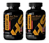 Product review for metabolism for men - ACAI BERRY 1200 – ANTI WRINKLE - COMBO - grape seed capsules - 2 Bottles, (60+60 Capsules)