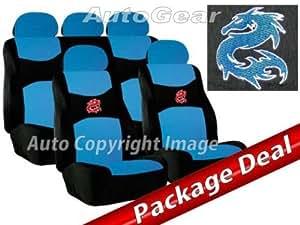 """Sumex Fund30A - Pack: Funda + Cubrevolante + Almohadillas """"Dragón"""", Azul"""