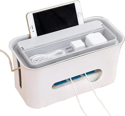 JWHOME Cable Tidy Box, Soporte para TeléFono Inteligente para Escritorio, TV, Concentrador USB para Computadora, Caja De ExtensióN para Cubrir Y Ocultar Y Enchufes Y Cables De AlimentacióN White: Amazon.es: Hogar