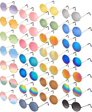 Blulu 28 Paires Lunettes de Soleil Hippie Style des Années 60 Rond Rétro Coloré Cadre en Métal Cadeaux de Fête