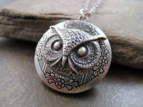 Handmade Oxidized Silver Owl Locket Necklace
