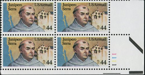 JUNIPERO SERRA ~ FRANCISCAN FRIARS ~ BEATIFIED ~ ALTA CALIFORNIA ~ AIRMAIL #C116 Plate Block of 4 x 44¢ US Postage Stamps Airmail Plate Block
