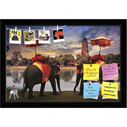 (Artzfolio Thai Traditional Elephants in Old Pagoda Ayuthaya Printed Bulletin Board Notice Pin Board | Black Frame 23.5 X 16Inch)
