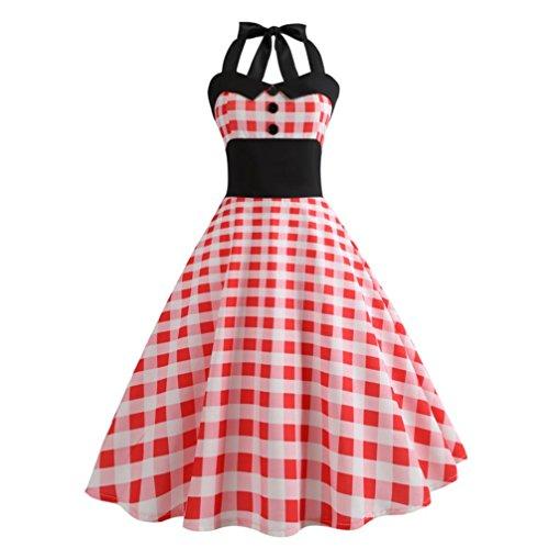 Janly Swing Kleid für Frau Vintage Halfter Ball Swing Kleider Damen  Figurbetont Plaid Drucken Kleid rot 725426272e