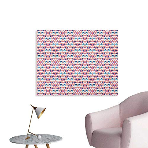 Anzhutwelve Geometric Photographic Wallpaper Diamond Shaped Little Squares Artistic Avant Garde Color Boxes Checkered Modern Funny Poster Multicolor W36 ()