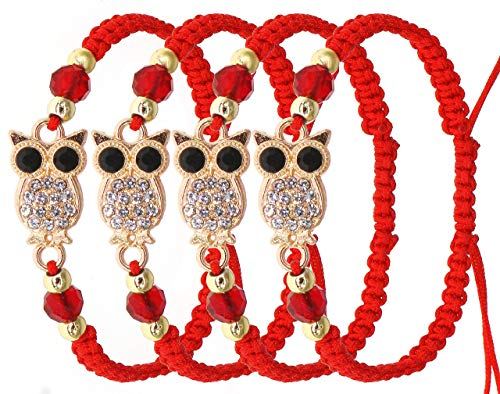 RufnTop 4 pcs Lucky Owl Protection for Kabbalah Medal on Red Cord Braided String Ancient Silver Tone Inspirational Breathe Bracelet Owl, 8 Inch Blessing, Hand-Made(OWL)