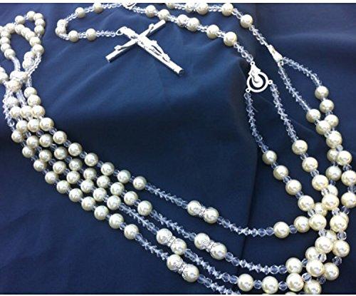 Ivory Pearls Wedding Lasso Silver Plated Accents/ Lazo De Bodas En Perlas Beige