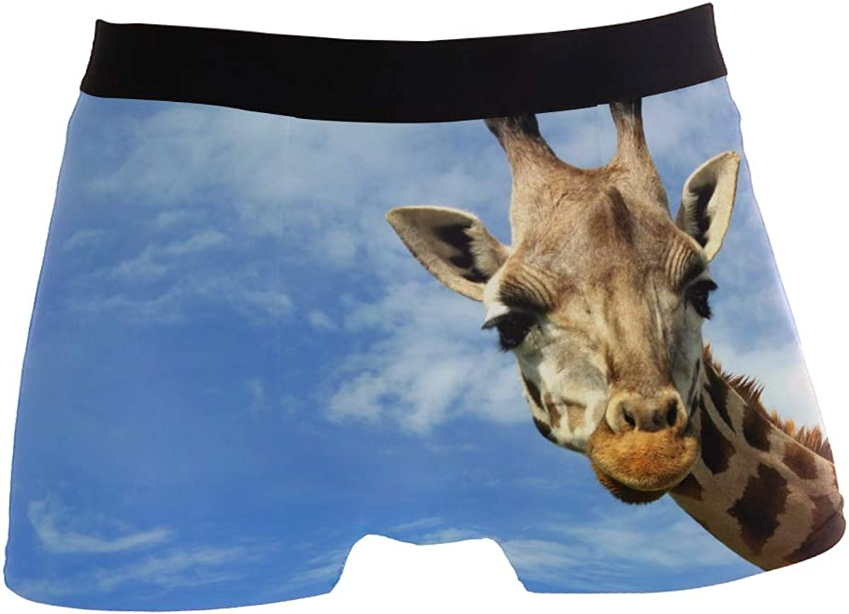 ZZKKO Giraffe Blue Sky Mens Boxer Briefs Underwear Breathable Stretch Boxer Trunk with Pouch S-XL