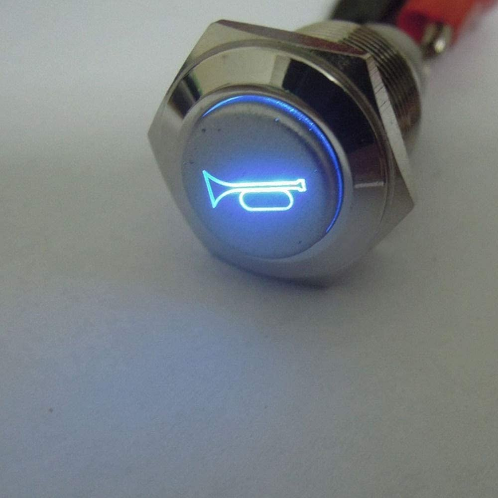 Cocas EE Support 12V 16mm Blue LED Momentary Horn Button Metal Push Button Switch Lighted Universal Car Styling XY01