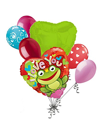 Hugs And Kisses Bouquet (7 pc Frog Prince I Love You Happy Valentines Day Balloon Bouquet Mine Hug Kiss Sweetest)