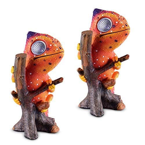 Chameleon Solar Garden Decorations Figurine | Outdoor LED Decor Figure | Light Up Decorative Statue Accents for Yard, Patio, Lawn, Balcony, or Deck | Great Housewarming Gift Idea (Orange, 2 Pack)