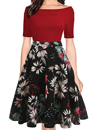 oxiuly Women's Vintage Off Shoulder Pockets Casual Floral A-Line Party Cocktail Swing Dress OX232 (2XL, Wine-BLWF)