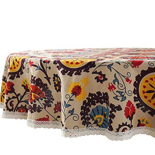 (Lahome Bohemian Sunflower Tablecloth- Cotton Linen Table Cover Kitchen Dining Room Restaurant Party Decoration (Round - 60