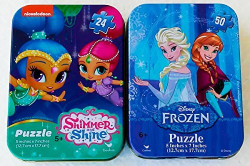 (Mini Puzzles in Travel Tin Cases Boxes: Disney Frozen Princess Elsa and Anna and Shimmer and Shine (24 and 50 Pieces) Girls Collectible Set of 2)