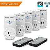 Goronya Wireless Outlet Switch with Remote,Electrical Plug Outlet Control for Household Appliance Lamp Light Etc (5 Plug/2 Remote)