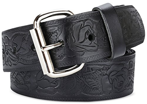 Men's Top Grain Vintage Distressed leather Belt ,easy to change Roller buckle,1.5
