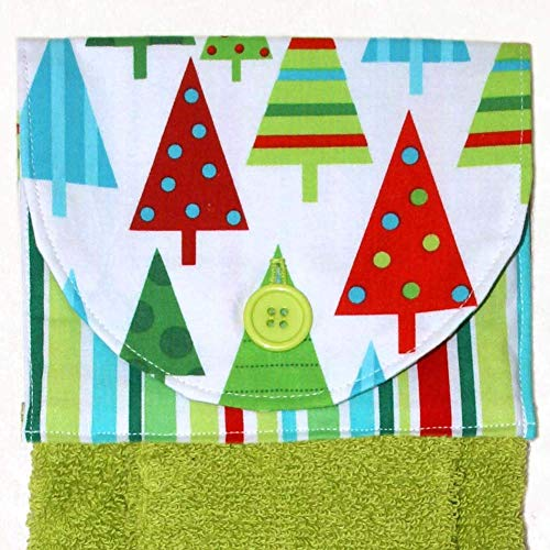 Green Hanging Hand Towel - Christmas Trees and Stripes Print With Green Plush Towel