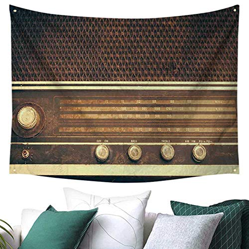 WilliamsDecor Vintage Tapestry for Bedroom Old Antique Retro 60s Style Radio Music Player Loudspeakers Buttons Image Picnic/Beach Blanket/Throw/Sheet 72W x 54L Inch Brown and - Vintage Taylor Sheet Music