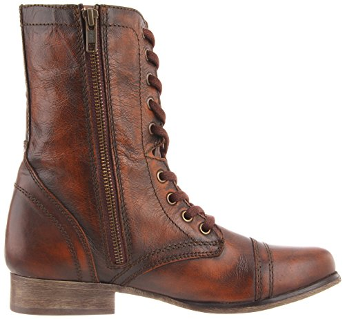 STEVE MADDEN TROOPA - Botas Militares para mujer Brown Leather