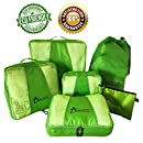 Travel PACKING CUBES Large Set 6 pcs Organizers with Versatile Pouch Laundry Bag - Eco