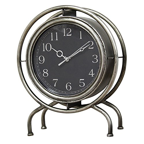 Clock Gamma (Stratton Home Decor S07722 Gamma Table Top Clock, Silver)