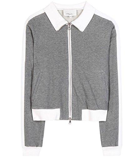 3.1 Phillip Lim  Trapunto Gray Track Jacket L - 3.1 Phillip Lim Sweater