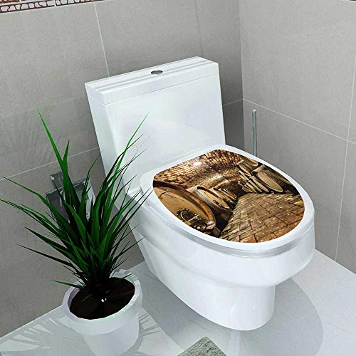 Auraise-home Toilet Seat Decal Vinyl Rows of Oak Barrels in Underground Wine Cellar Decal Sticker for Toilet Decoration W15 x L17