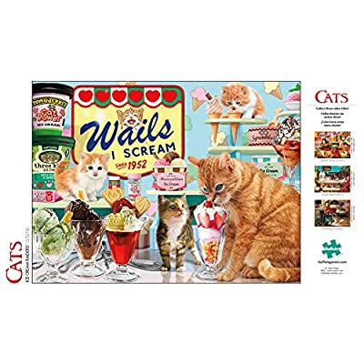 Buffalo Games - Cats Collection - Ice Cream Raiders - 750 Piece Jigsaw Puzzle: Toys & Games