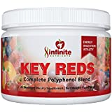 Infinite Nutrients Key Reds - Complete Superfood Polyphenol Blend - Antioxidant, Multivitamin, Resveratrol - Grape Seed Extract - Energy Boosting Fruit, Vegetable, Probiotic,Prebiotic (5 oz jar)