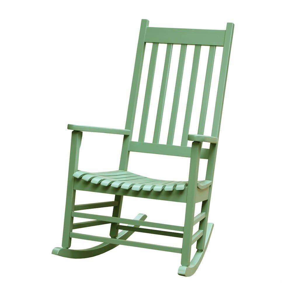 MD Group Porch Rocker Chair Rocking Patio Outdoor Wooden Light Green Deck Furniture Seat
