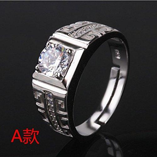 s925 Sterling Silver Ring Opening Men's Wedding Live on Large Atmospheric Simulation Diamond Ring Domineering Men Man boss Hoop (a Mens Rings (Live on Version)