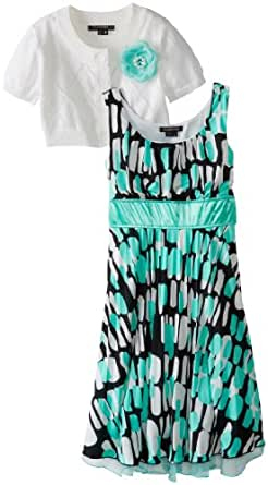 My Michelle Big Girls' Short Sleeve Cardigan Dress with Printed Pleated Skirt, Mint, 7