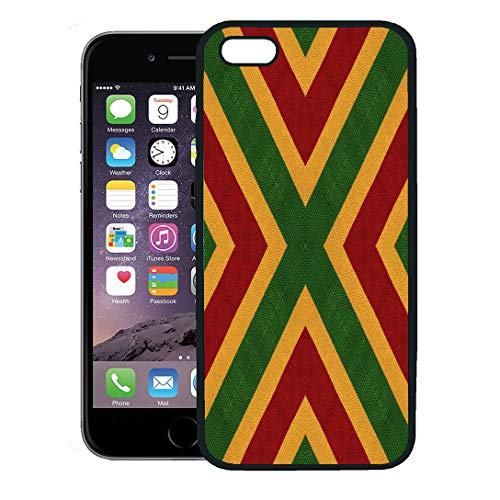 Semtomn Phone Case for iPhone 8 Plus case,Reggae Colors Flag Crochet Knitted Top View Collage Mirror Reflection Kaleidoscope Montage for Plaid iPhone 7 Plus case ()